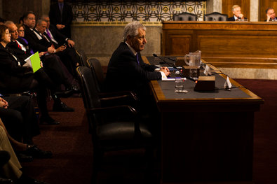 Chuck Hagel during his confirmation hearing before the Senate Armed Services Committee on Thursday.