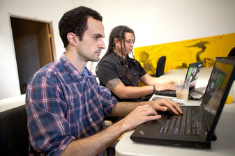 Bill Marczak, left, and Morgan Marquis-Boire have been studying government use of surveillance software.