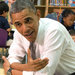 Before giving a speech at a factory on Friday, President Obama met with children at an elementary school in Baltimore.