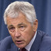 Defense Secretary Chuck Hagel speaking on Wednesday at the Pentagon about looming across-the-board spending cuts.