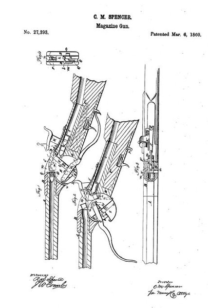 Illustration to accompany the patent application for the Spencer repeating rifle.