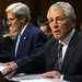 Secretary of State John F. Kerry, center, Defense Secretary Chuck Hagel, right, and Gen. Martin Dempsey, chairman of the Joint Chiefs of Staff, before the Senate Foreign Relations Committee, on Tuesday.