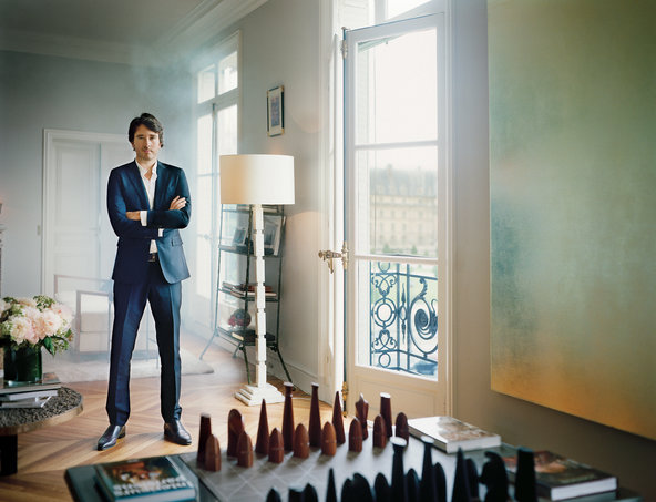 Antoine Arnault in the Paris apartment in the Seventh Arrondissement that he shares with his girlfriend, the model Natalia Vodianova, and her three children from a previous marriage.
