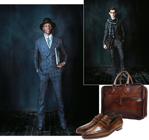 Berluti's luxurious fall collection, including (from left) a navy windowpane-check wool double-breasted suit; a gray single-breasted wool and silk three-piece suit; the Deux Jours leather briefcase; leather loafers.