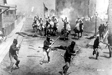"D. W. Griffith's ""Birth of a Nation"" filmed in 1914."