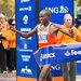 Geoffrey Mutai, of Kenya, crossing the finish line to win the New York City Marathon.