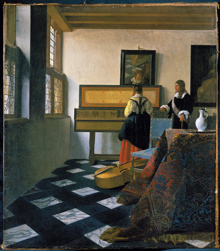 vermeer, music lesson, art, painting