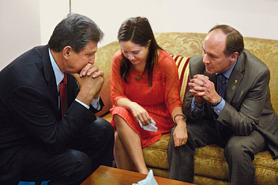 Manchin, left, met with Nelba Marquez-Greene and Mark Barden, who each lost a child in the Newtown shootings, in Washington.