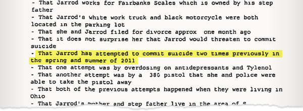 A sheriffs report from Arapahoe County, detailing an episode in which Jarrod Thoma threatened suicide with a gun.