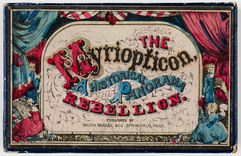 "Milton Bradley's Myriopticon, a parlor game containing images from the history of the ""Rebellion"" or the American Civil War, came with directions, lecture, a poster and tickets. View Game »"