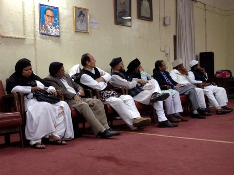 Community members at a meeting, sponsored by members of the Rashtriya Swayamsevak Sangh, about Muslims and secularism at the Municipal Corporation building in Lucknow, Uttar Pradesh, on Feb. 28.