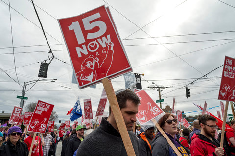 A Seattle group held a march last Saturday calling for raising the minimum wage to $15 per hour.