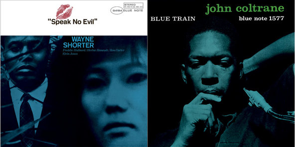 """""""Speak No Evil"""" by Wayne Shorter, left, and John Coltrane's""""Blue Train"""" are among 100 notable Blue Note albums being rereleased in vinyl."""