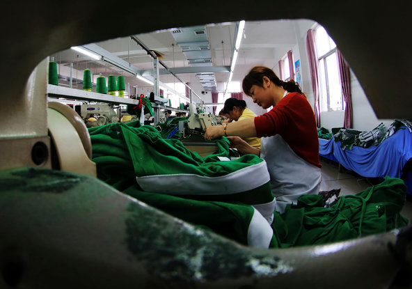 A garment factory in Jiujiang in central China's Jiangxi Province.