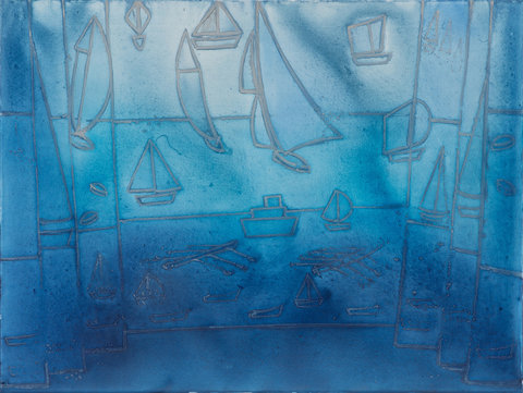 "<strong>Silke Otto-Knapp</strong> at Gavin Brown's Enterprise, ""Stage With Boats (blue and silver),"" 2013."