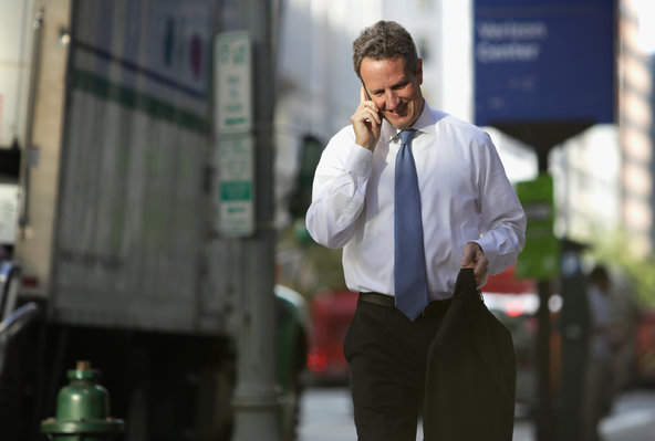Timothy Geithner, former president of the New York Fed, arriving at court before testifying in a suit brought by A.I.G.'s former chief.