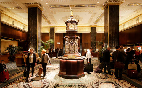 The lobby of the Waldorf-Astoria. Hilton Worldwide Holdings, which is selling the hotel, will continue to manage it.