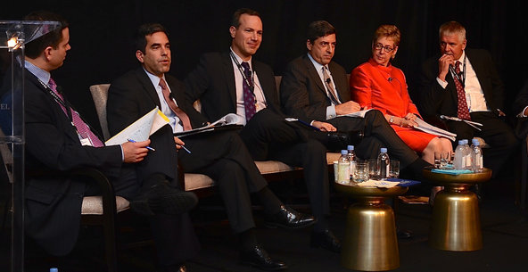 A panel at the Securities Enforcement Forum, a conference held on Oct. 14 in Washington, included, from left, Bradley J. Bondi, Andrew Ceresney, George Canellos, Robert Khuzami, Linda Chatman Thomsen and William McLucas.
