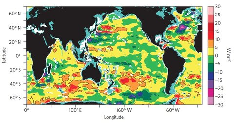 A map shows where heat has accumulated in the world's seas since 2006, as measured by ocean-probing Argo instruments.
