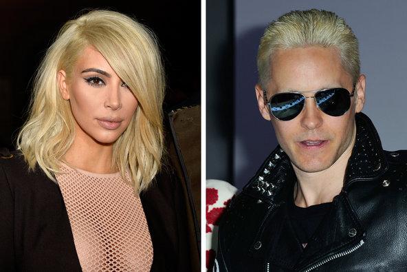 Kim Kardashian and Jared Leto both unveiled new bleach-blond hairstyles on the same day.