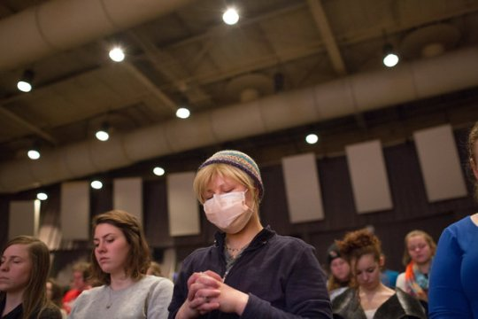 Karly Koch, 20, worshiping in Muncie, Ind. She has a rare genetic immune disorder, and has written about her end-of-life plans.