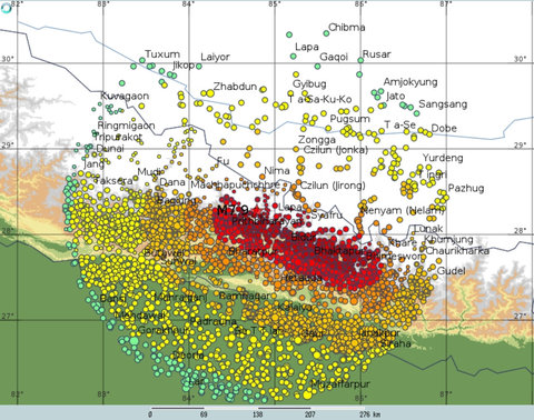 A map of the estimated intensity of shaking in settlements within 200 kilometers (124 miles) of the epicenter of the April 25, 2015, earthquake in Nepal.