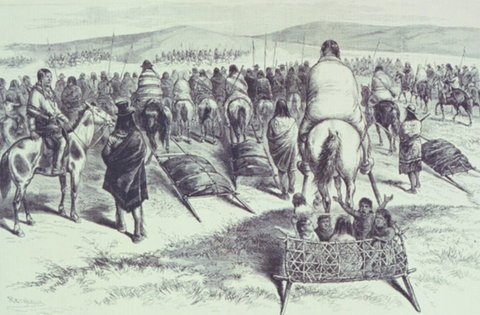Crazy Horse and his band of Indians on their way from Camp Sheridan to surrender at Red Cloud Agency, 1877.