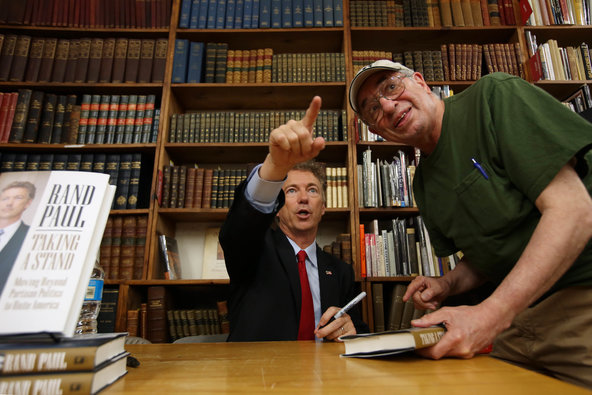 Senator Rand Paul with a supporter at a book signing in New York City on Tuesday night.
