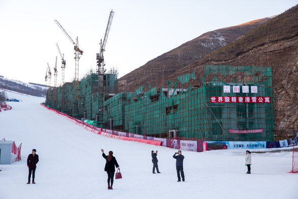 Construction last winter at the Genting Grand Secret Garden ski resort in Hebei Province, where some sports events will take place if Beijing succeeds in its bid to host the 2022 Winter Olympics.