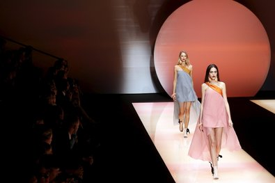 Giorgio Armani, master of greige, was actually in a pinker mood this season.