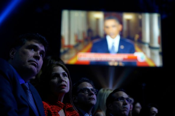 President Obama's address on Nov. 20, 2014, announcing executive orders on immigration, shown live at the Latin Grammy Awards in Las Vegas.