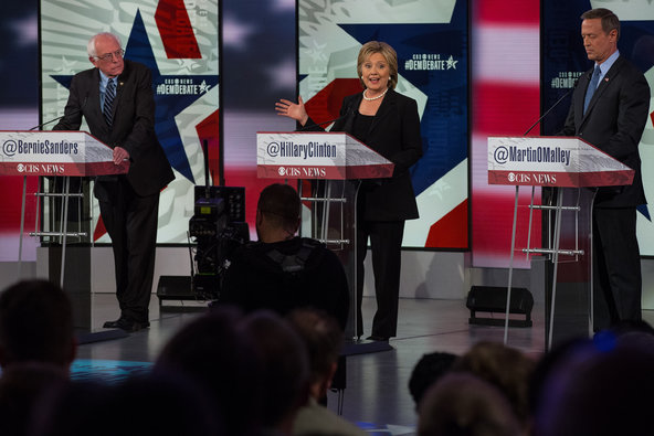 Senator Bernie Sanders, Hillary Rodham Clinton and Martin O'Malley during a debate at Drake University in Iowa this month.