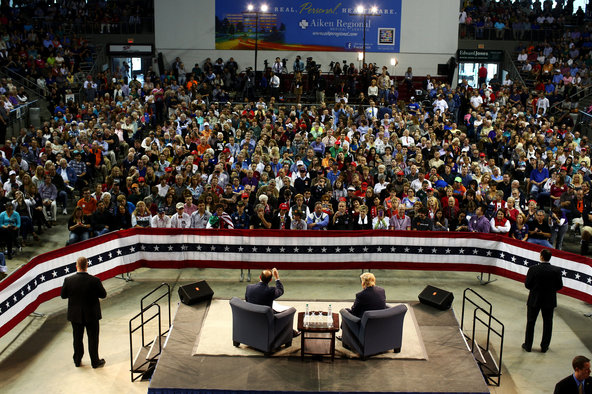 Donald J. Trump, seated at right, appeared at a University of South Carolina-Aiken town hall on Saturday.
