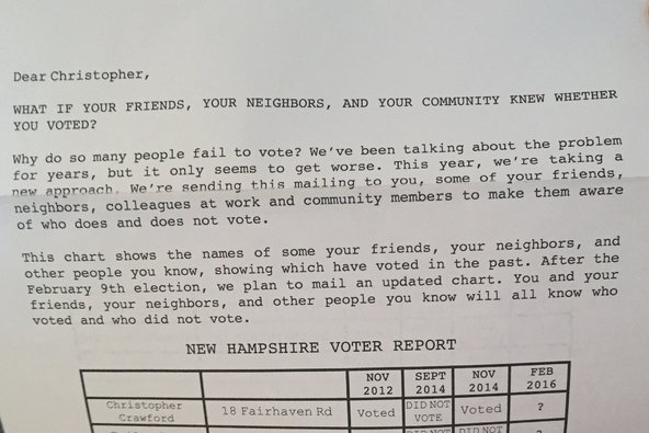 A flier mailed to voters in New Hampshire this week.