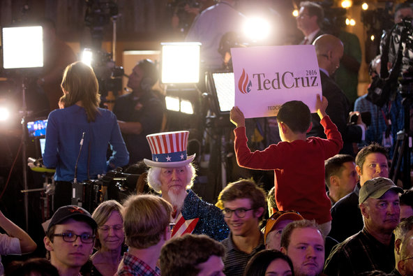 The crowd at an election night watch party for Senator Ted Cruz on Tuesday night at the Redneck Country Club in Stafford, Tex.