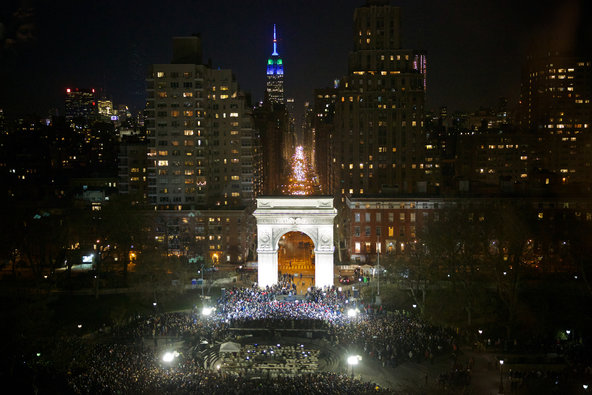 Washington Square Park as Senator Sanders spoke.