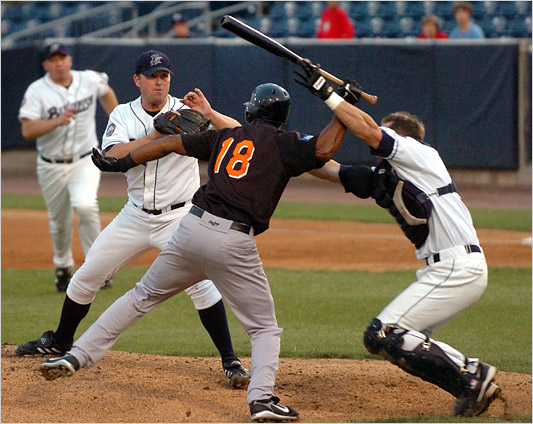 Former major leaguer Jose Offerman hits Bridgeport Bluefish pitcher Matt Beech with a bat breaking his finger and also hits catcher John Nathans the catcher in the head. Nathans is still in therapy almost two years later after suffering a concussion.