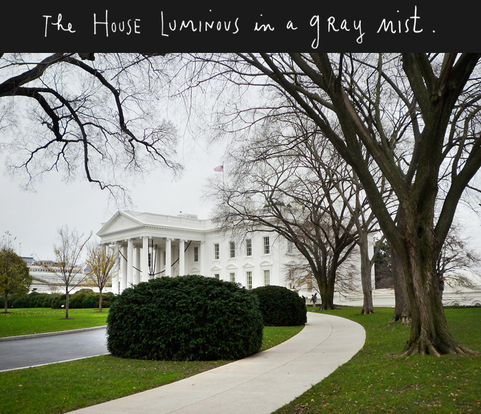 The house luminous in a gray mist.