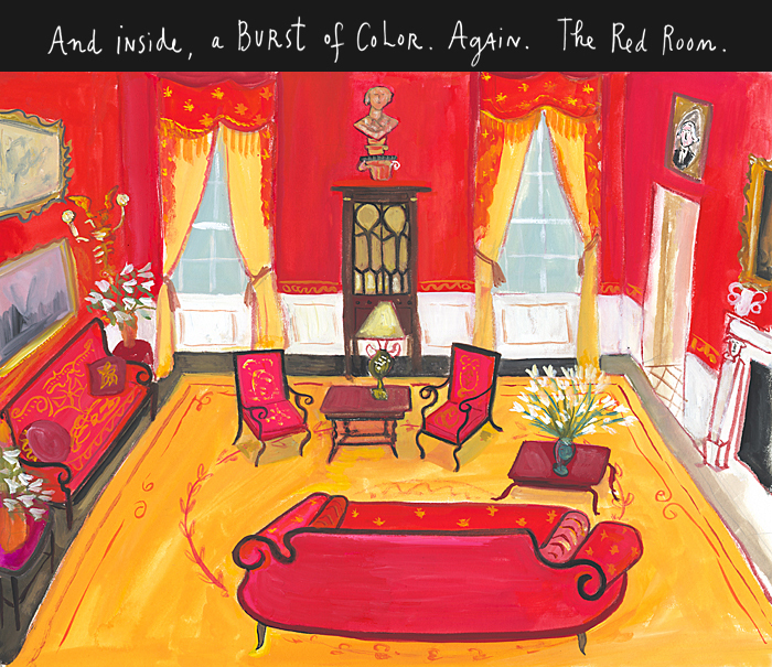 And inside, a burst of color. Again. The Red Room.