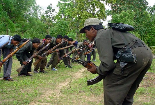 Maoist fighters training in Chattisgarh state in central India in 2006 (AP)