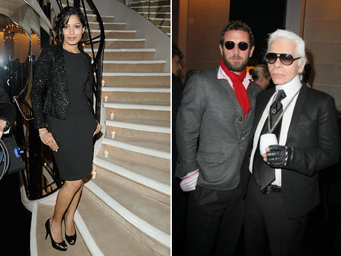 Frieda Pinto, Karl Lagerfeld and Stefano Pilati