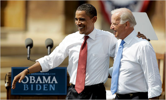 Barack Obama and his running-mate Sen. Joe Biden in Springfield, Ill., August 23, 2008
