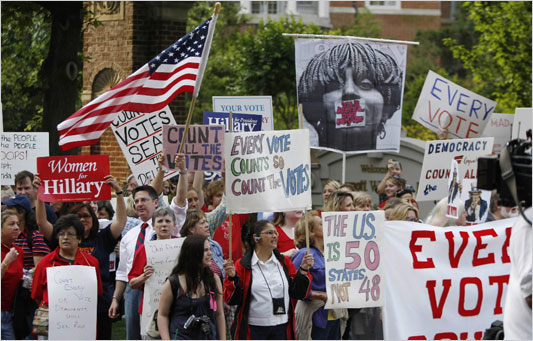 DNC protesters outside the RBC meeting in May, 2008