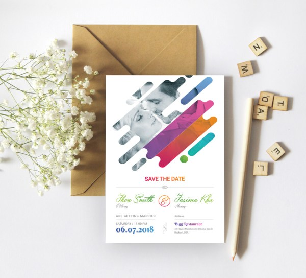 Colorful Creative Elegant Wedding Invitation Template