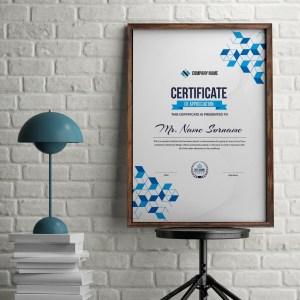 Cubes Portrait Certificate Template