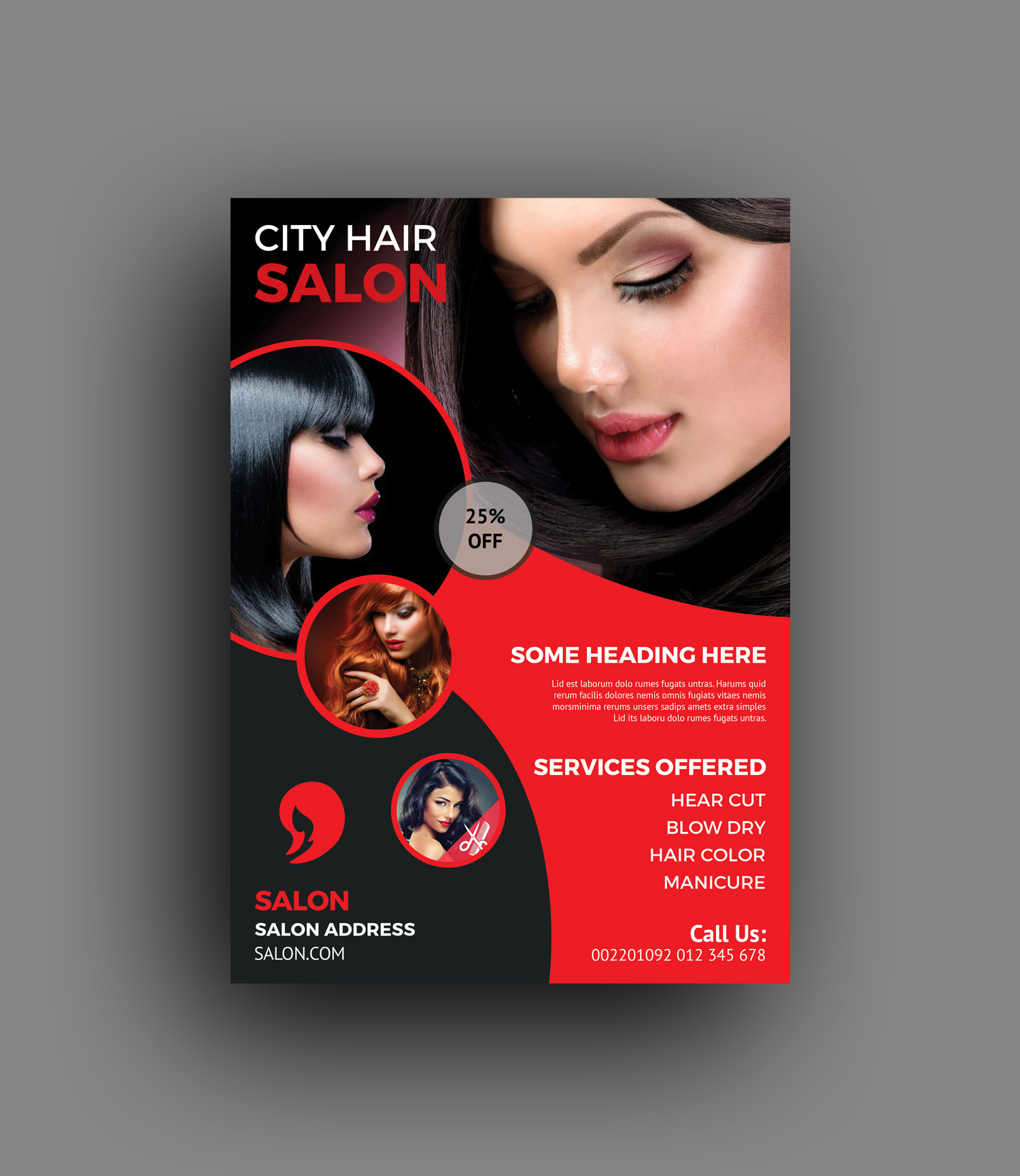 Elegant Hair Salon Flyer Template - Graphic Templates