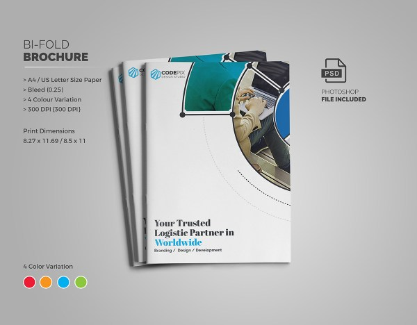 Fancy Stylish Bi-Fold Brochure Template