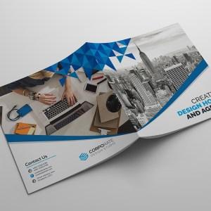 Modern Pro Square Bi-Fold Brochure Template
