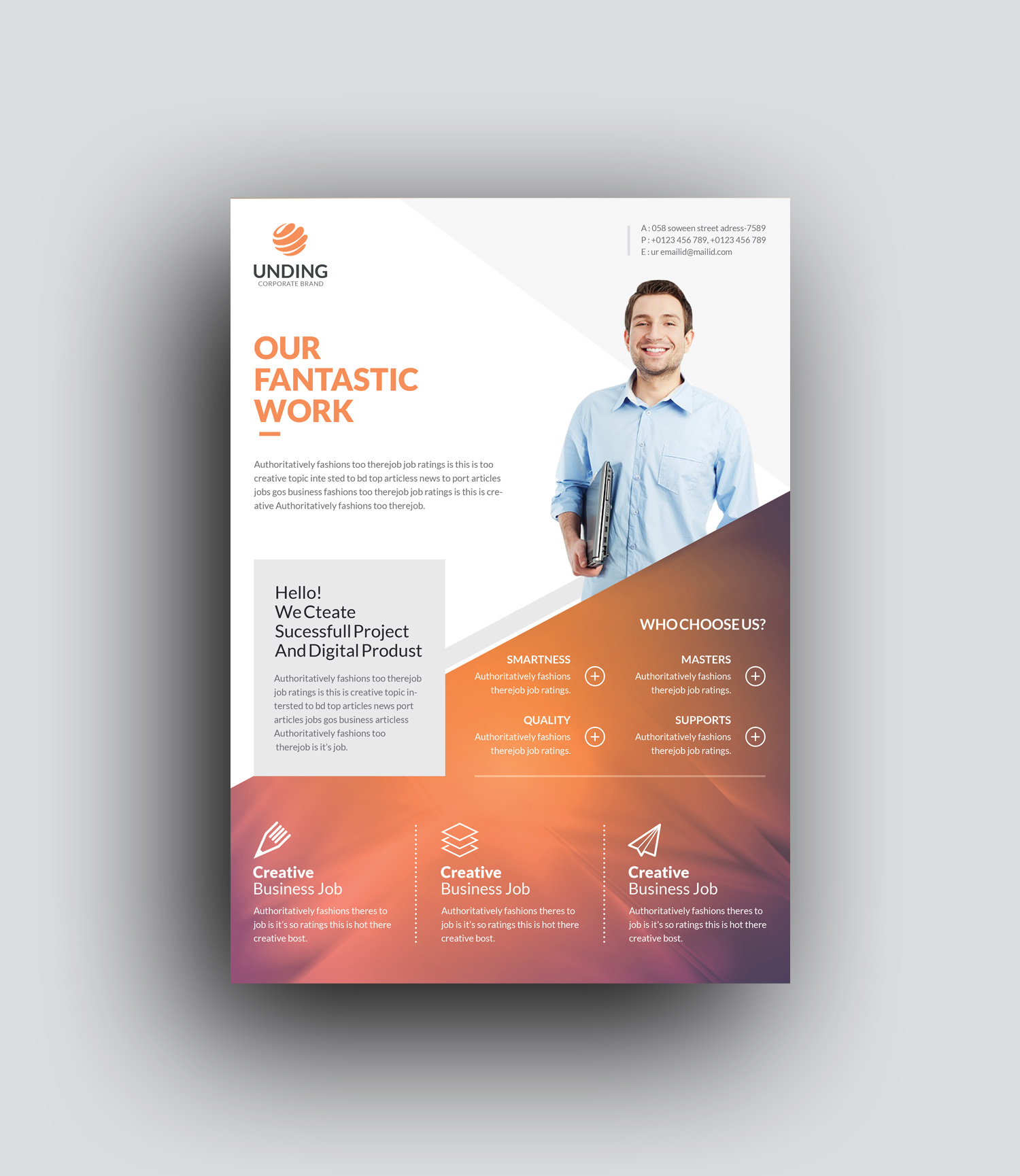 Orthrus Modern Premium Business Flyer Template - Graphic Templates