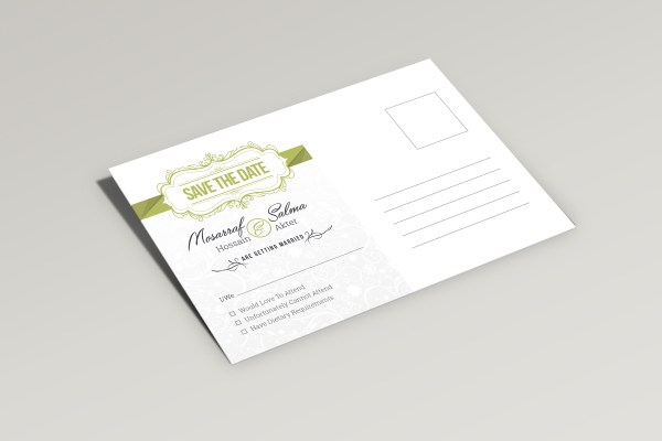 Sleek Elegant Wedding Postcard Template